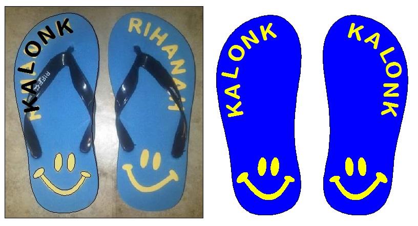 Sket gambar dan simulasi sandal dengan warna biru dan kuning