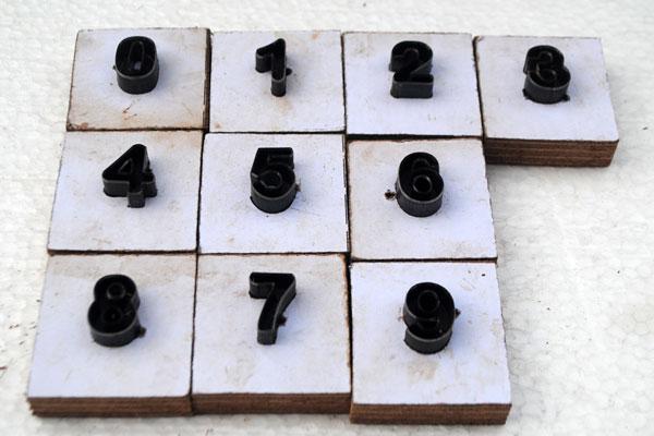 pisau silet untuk angka dari 0-9
