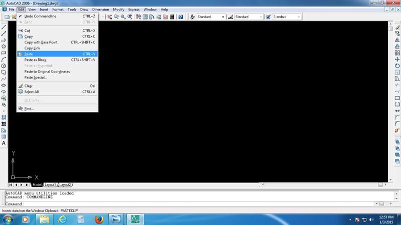 Paste gambar pada layar software Auto CAD