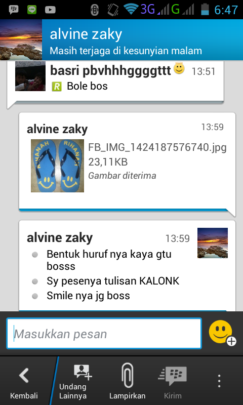 Screenshot chating kami via BBM
