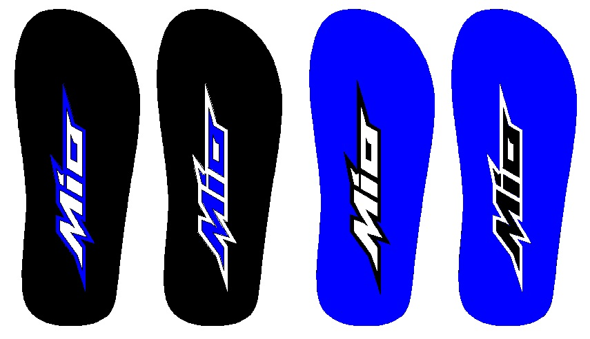 Percobaan simulasi gambar sandal yamaha mio untuk warna biru