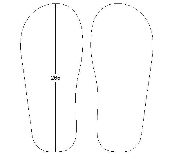 Gambar pisau sandal yang akan dibuat untuk kanan dan kiri