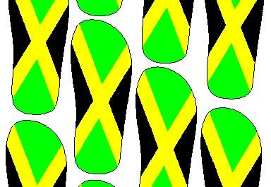 Perpaduan warna kuning, hijau dan hitam jadi motif sandal jamaika