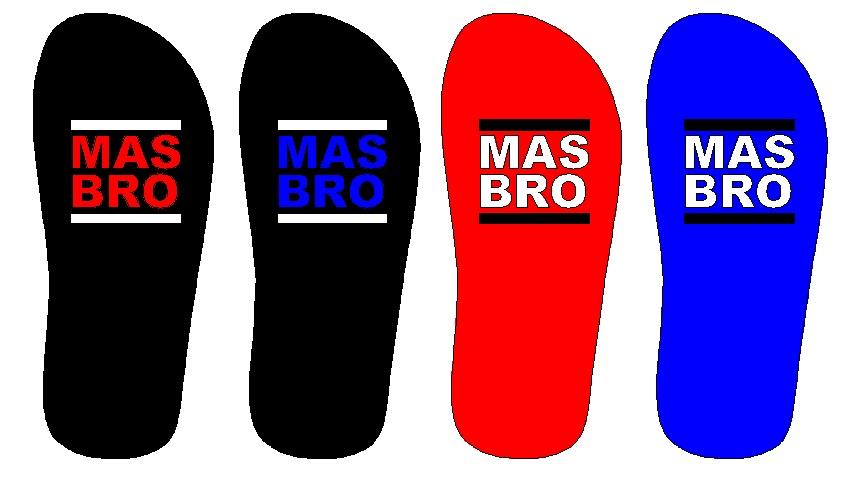 Desain sandal mas bro warna merah dan biru