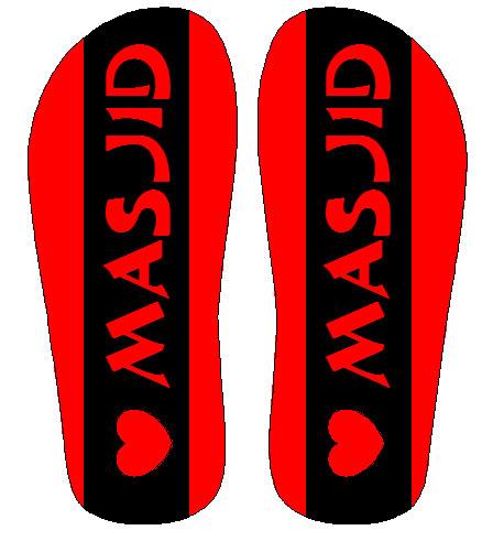 desain sandal milik masjid dengan logo love